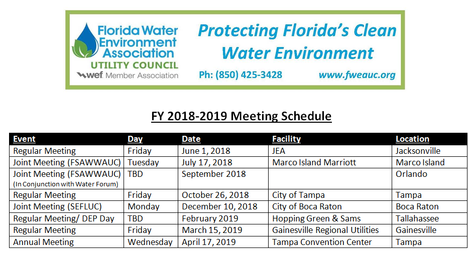 FY 2018-2019 Meeting Schedule | FWEA UTILITY COUNCIL
